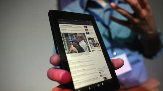 Amazon's tablet called the Kindle Fire on display.