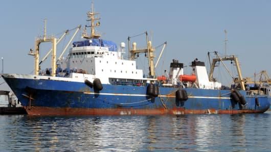 A trawler moored in Dakar on Jan. 5, 2014.