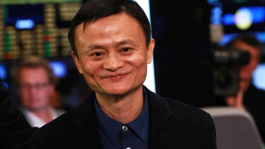 Jack Ma of Alibaba Group during the IPO at the New York Stock Exchange, September 19, 2014.