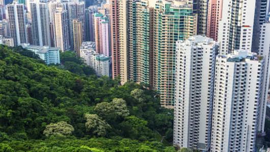 Residential Skyscraper in hong kong, view of Victoria Peak