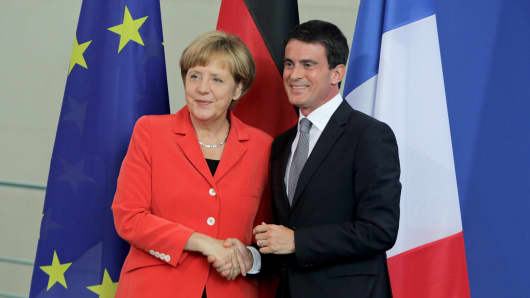 Merkel, Valls, Germany, France