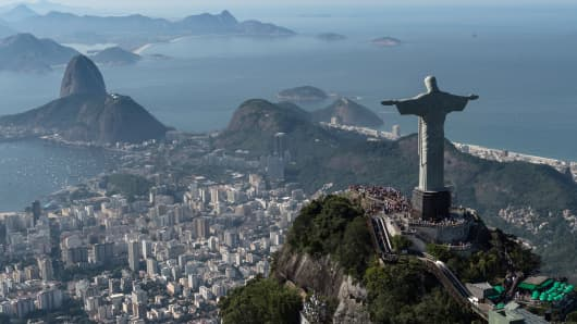 Aerial view of Christ the Redeemer statue, in Rio de Janeiro, June 26, 2014.