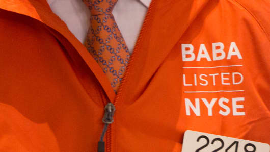 A jacket worn by a trader at the NYSE during the Alibaba Group IPO opening.
