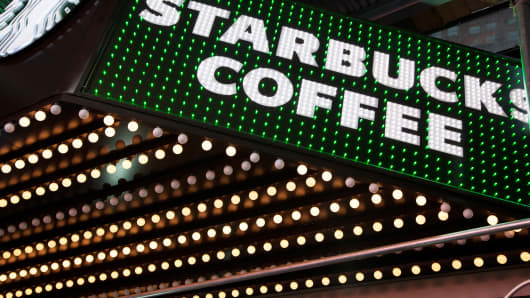 A Starbucks location in Times Square, New York