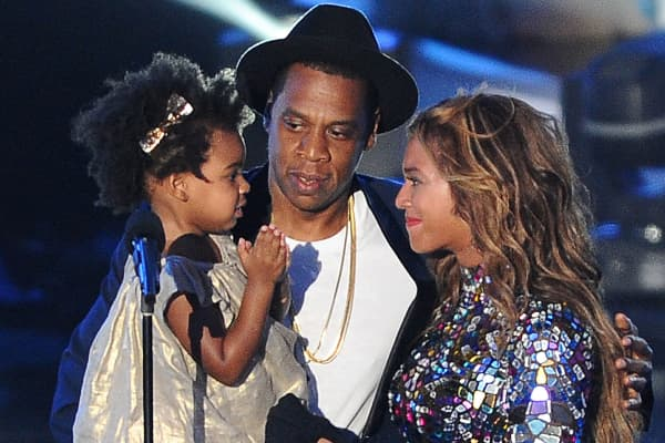 Jay-Z, Beyonce and Blue Ivy Carter onstage at the 2014 MTV Video Music Awards at The Forum on August 24, 2014 in Inglewood, California.