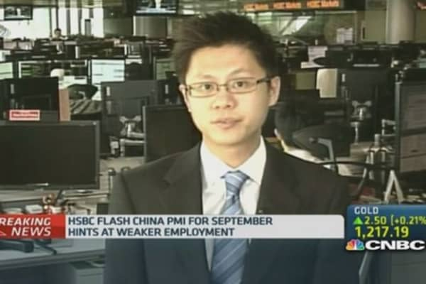 China September HSBC flash PMI edges up to 50.5