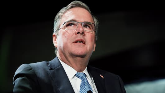 Former Florida Gov. Jeb Bush attends a Long Island Association luncheon in Woodbury, N.Y.