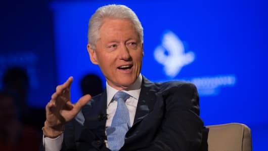 Former President Bill Clinton speaks with Becky Quick at the CGI 2014 annual meeting in N.Y.