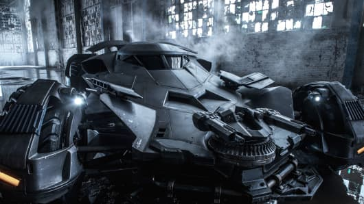 "The newest version of the Batmobile from ""Batman v. Superman: Dawn of Justice."""