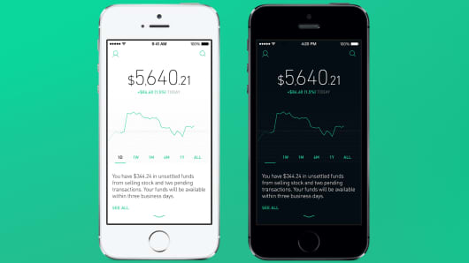 The Robinhood trading app.