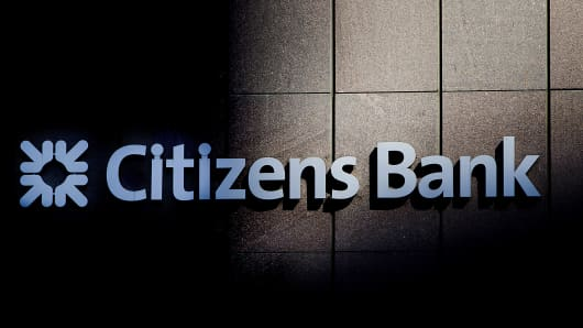 Citizens Bank signage is displayed in Boston, Massachusetts, U.S..