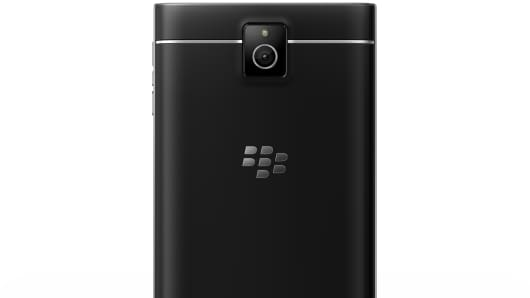 BlackBerry Passport smartphone back view