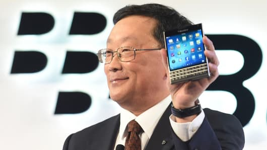BlackBerry Chief Executive John Chen introduces the Passport smartphone during an official launch event in Toronto on Sept. 24, 2014.