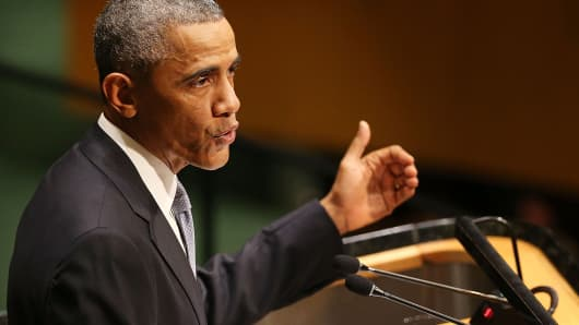 President Barack Obama speaks at the U.N. General Assembly, Sept. 24, 2014.
