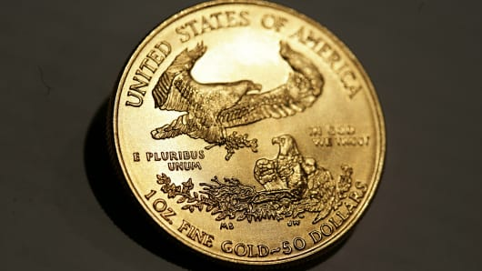 An American Eagle gold bullion coin is shown in Munich.