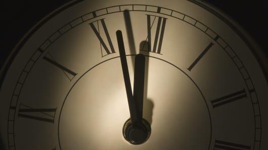 Clock displaying time near midnight