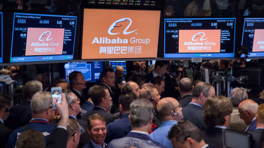 Trader on the floor of the New York Stock Exchange during the Alibaba Group IPO opening.