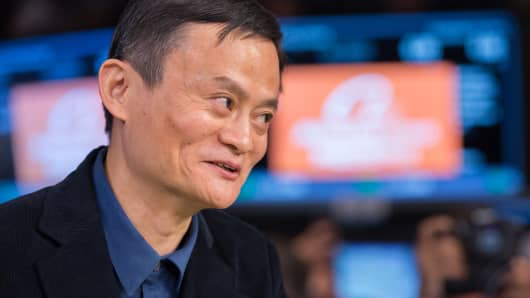 Jack Ma, founder of Alibaba Group Holding Ltd. at the NYSE for the Alibaba Group IPO opening.