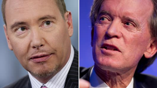 Jeffrey Gundlach, founder and chief executive officer of Doubleline Capital LP and Bill Gross of PIMCO.