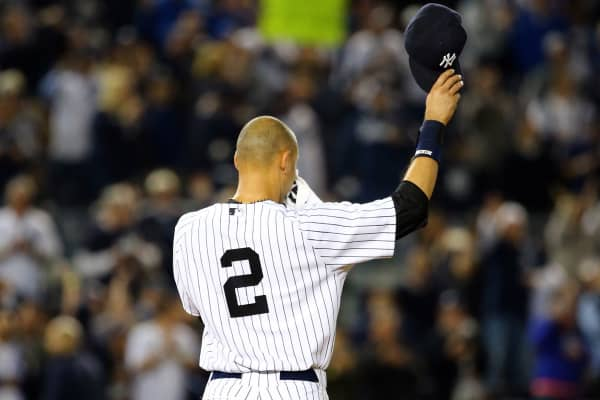 Derek Jeter #2 of the New York Yankees waves to the fans after a game winning RBI hit in the ninth inning against the Baltimore Orioles in his last game ever at Yankee Stadium on September 25, 2014 in the Bronx borough of New York City.