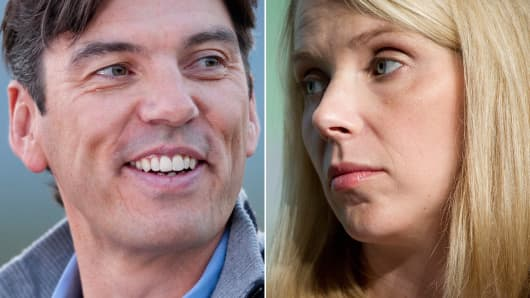 Tim Armstrong, CEO of AOL and Marissa Mayer, CEO of Yahoo Inc.