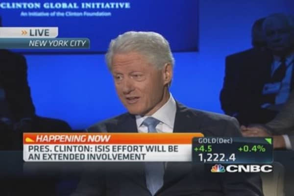 CNBC's Becky Quick & President Bill Clinton at the Clinton Global Initiative