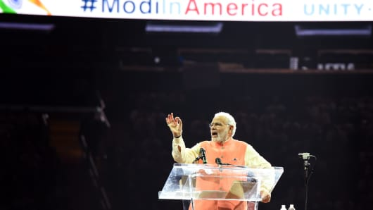 Prime Minister Narendra Modi of India speaks to supporters during a community reception September 28, 2014 at Madison Square Garden in New York.