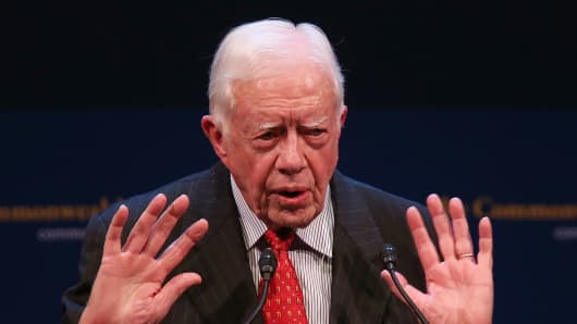 Former U.S. President Jimmy Carter speaks at the Commonwealth Club of California in February 2013 in San Francisco, California.