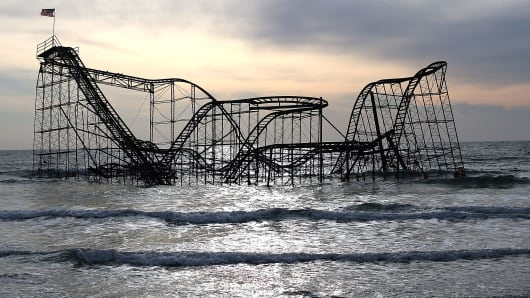 The Star Jet roller coaster remains in the water after the Casion Pier it sat on collapsed from the forces of Superstorm Sandy, February 19, 2013 in Seaside Heights, New Jersey.