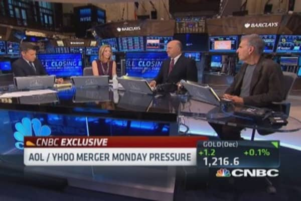 AOL/ Yahoo merger Monday pressure