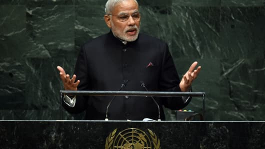 Narendra Modi, Prime Minister of the Republic of India, speaks during the 69th Session of the UN General Assembly September 27, 2014 in New York.