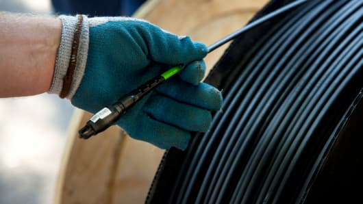A spool of fiber optic cable during installation in Minneapolis, Minnesota.