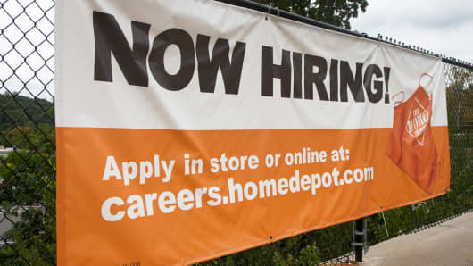 Sign outside a Home Depot store in Hawthorne, New York.