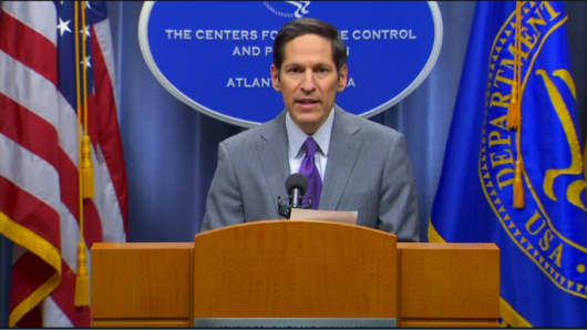 Dr. Tom Frieden speaking at a CDC news conference, September 30, 2014.