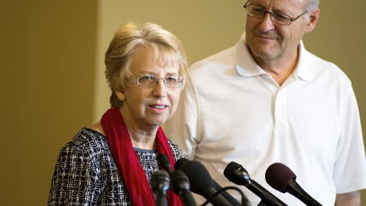 SIM USA missionary Nancy Writebol discusses her recovery from Ebola, as her husband David looks on, at a news conference at SIM USA headquarters in Charlotte, N.C., Sept. 3, 2014.