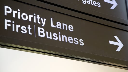 Priority lane sign for first and business class