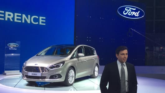 Ford CEO Mark Fields with the S-Max at the Paris Motor Show