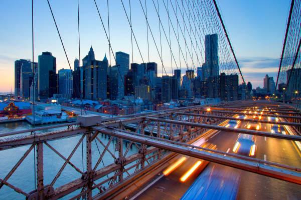 The Brooklyn Bridge and the skyline of lower Manhattan, New York.