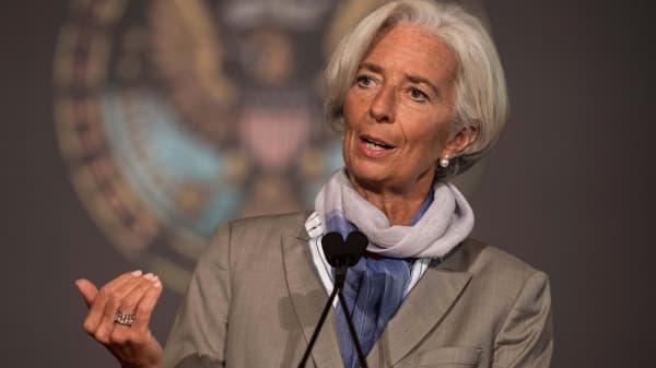 International Monetary Fund (IMF) Managing Director Christine Lagarde speaks at Georgetown University in Washington, on October 2, 2014.