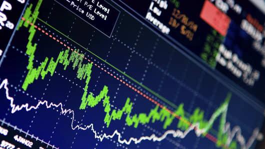 Stock market data on computer screen