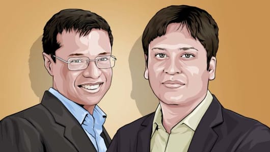 From left: Sachin Bansal and Binny Bansal