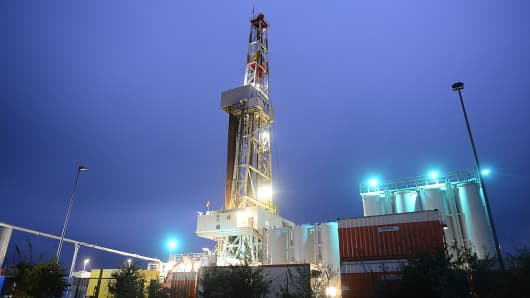 An oil-drilling rig operates on Sept. 26, 2014 near Walle, Germany.