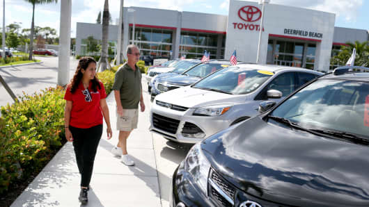 Shoppers at the Toyota of Deerfield car dealership in Deerfield Beach, Fla.