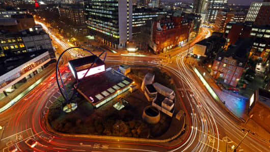 "London's Old Street roundabout, dubbed ""Silicon Roundabout"""