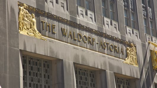 The Waldorf-Astoria Hotel in New York.