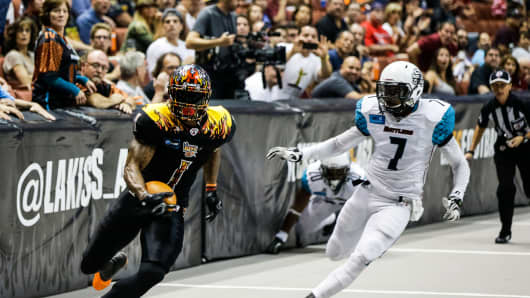 An Arena Football League game featuring the new LA Kiss, which is owned by members of the rock band Kiss.
