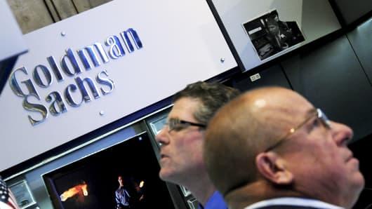 Traders at New York Stock Exchange's Goldman Sachs boot