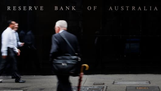 The Reserve Bank of Australia (RBA) headquarters in the central business district of Sydney, Australia.