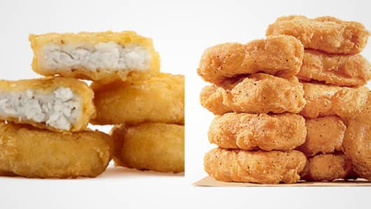 From left: McDonald's Chicken McNuggets and Burger King Chicken Nuggets