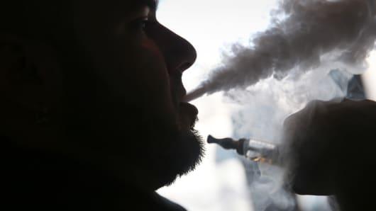 A man smokes an electronic cigarette in Miami.